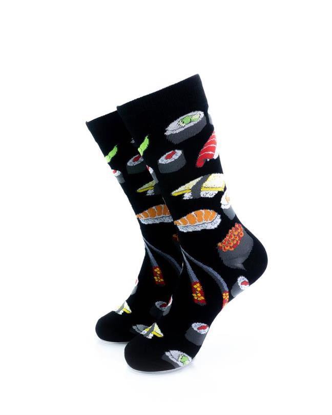 cooldesocks sushi black crew socks front view