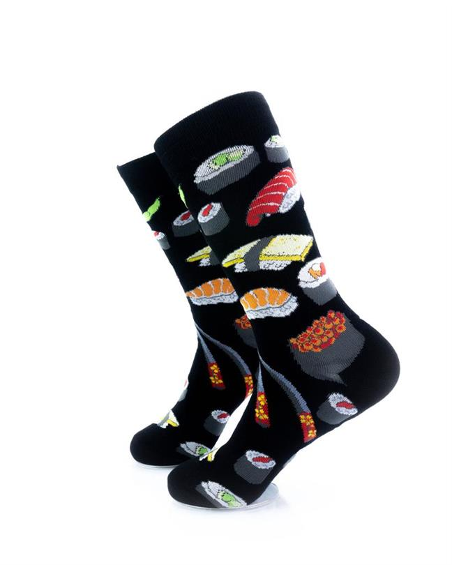 cooldesocks sushi black crew socks left view