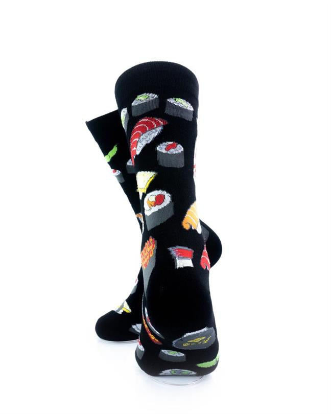 cooldesocks sushi black crew socks rear view