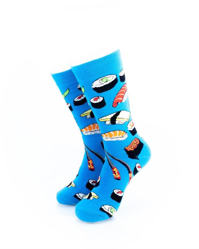 CoolDeSocks Sushi - Blue Socks front view image