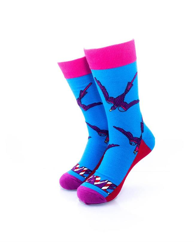 CoolDeSocks Swallow Love Socks front view image