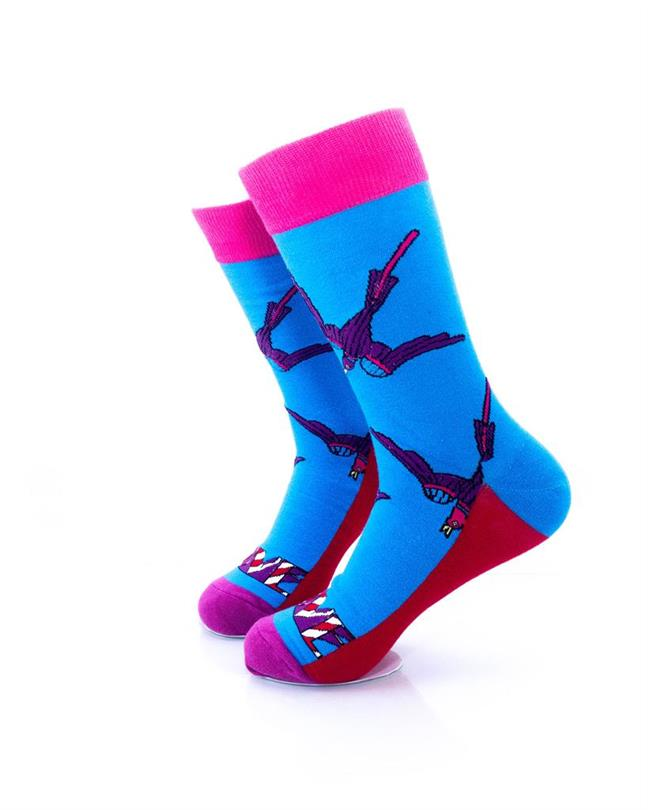 CoolDeSocks Swallow Love Socks left view image