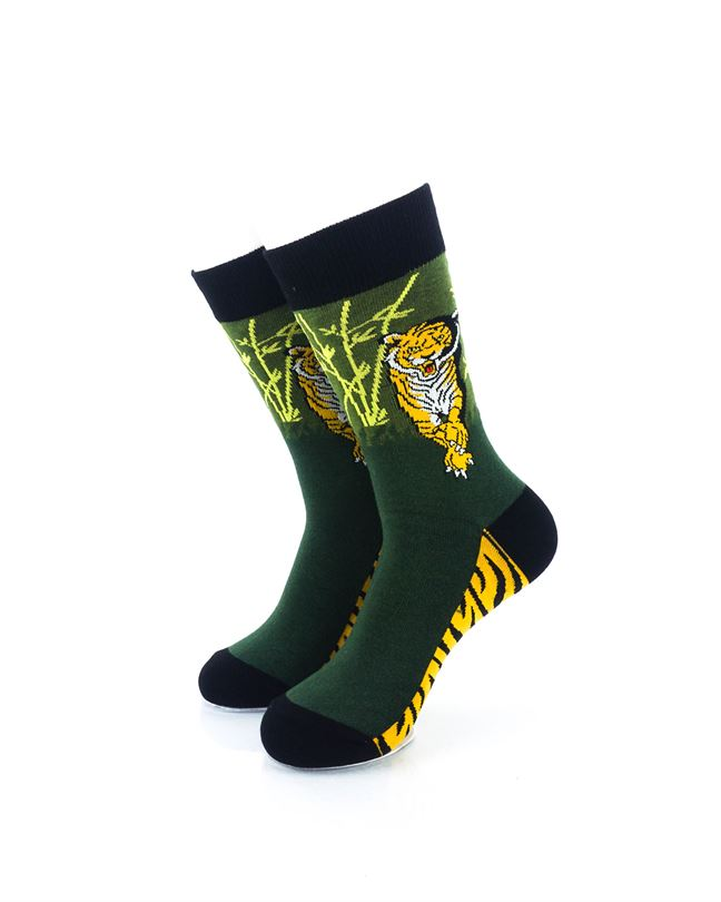 CoolDeSocks Tiger Forest Crew Socks front view image