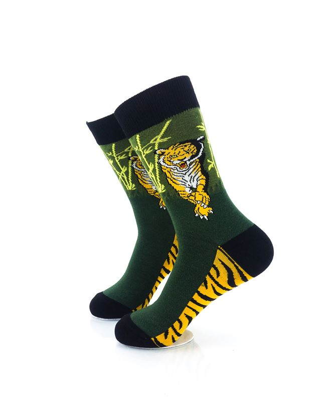 CoolDeSocks Tiger Forest Crew Socks left view image