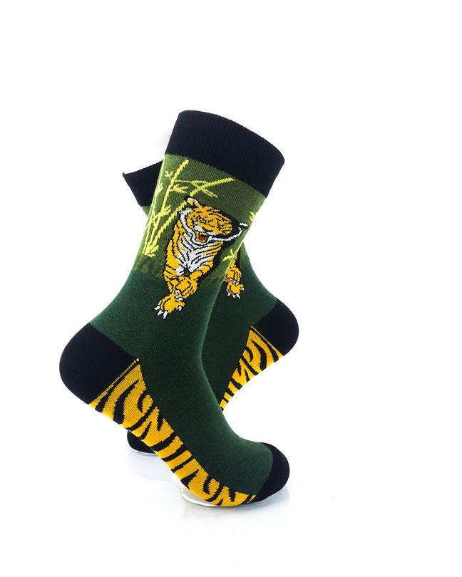 CoolDeSocks Tiger Forest Crew Socks right view image