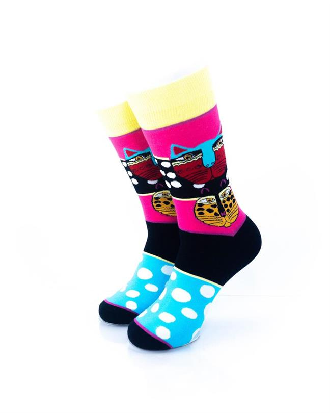cooldesocks tribal cat colourful crew socks front view