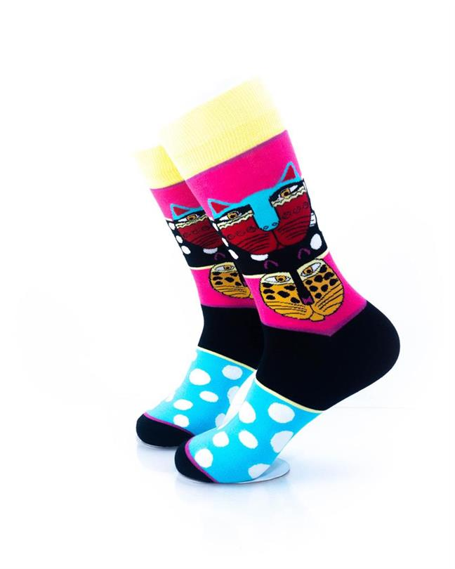 cooldesocks tribal cat colourful crew socks left view
