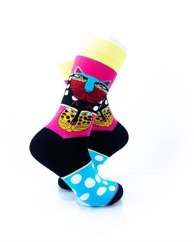 cooldesocks tribal cat colourful crew socks right view