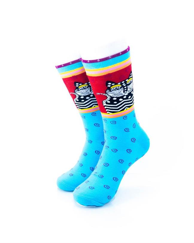 CoolDeSocks Tribal - Cat in Blue Socks front view image