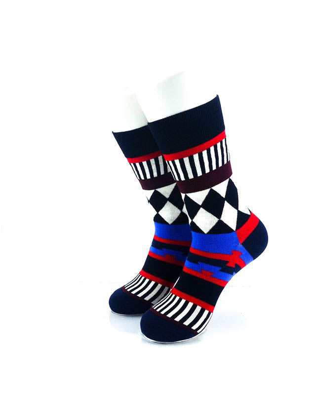 cooldesocks tribal checkered quarter socks front view image
