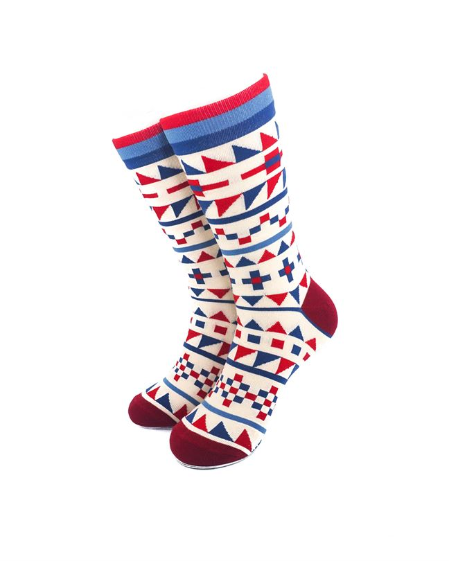 CoolDeSocks Tribal Red Blue Crew Socks front view image