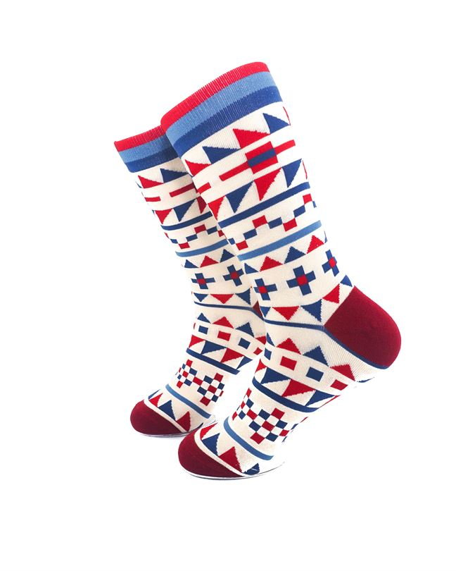 CoolDeSocks Tribal Red Blue Crew Socks left view image