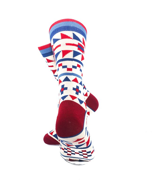 CoolDeSocks Tribal Red Blue Crew Socks rear view image