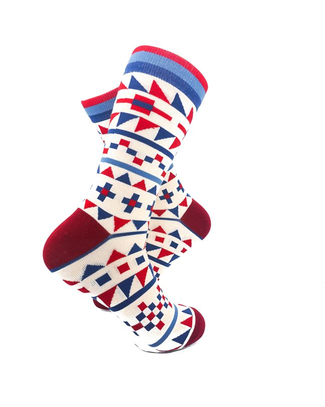 CoolDeSocks Tribal Red Blue Crew Socks right view image