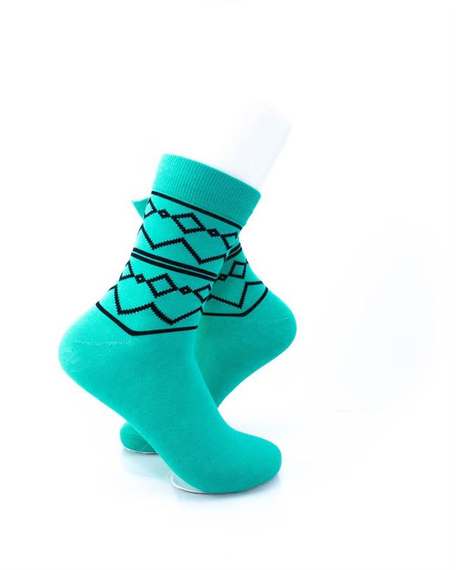cooldesocks tribal turquoise quarter socks right view