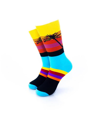 CoolDeSocks Tropical Sunset Stripes Socks front view image