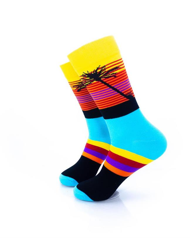 CoolDeSocks Tropical Sunset Stripes Socks left view image