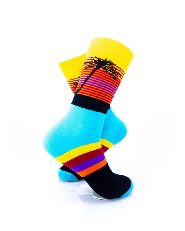 CoolDeSocks Tropical Sunset Stripes Socks right view image