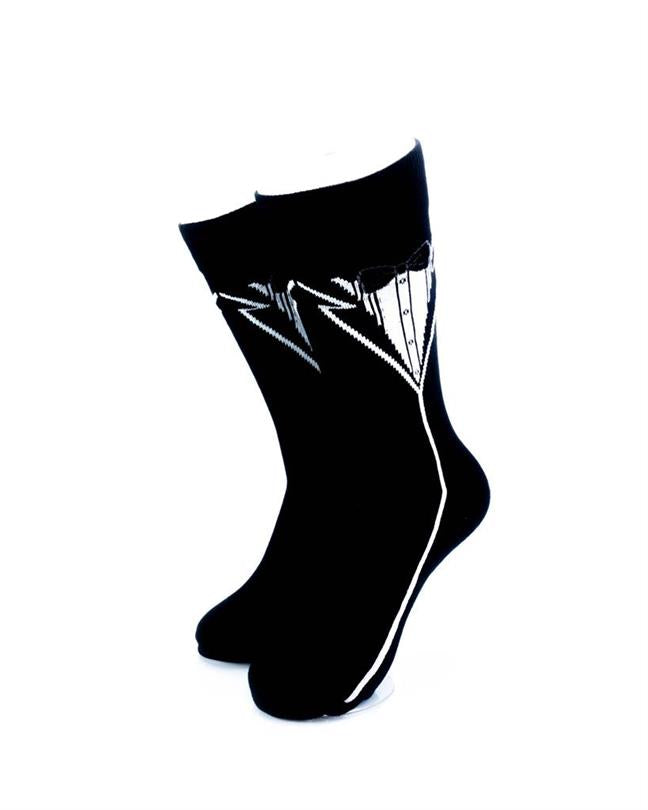 cooldesocks tuxedo print crew socks front view