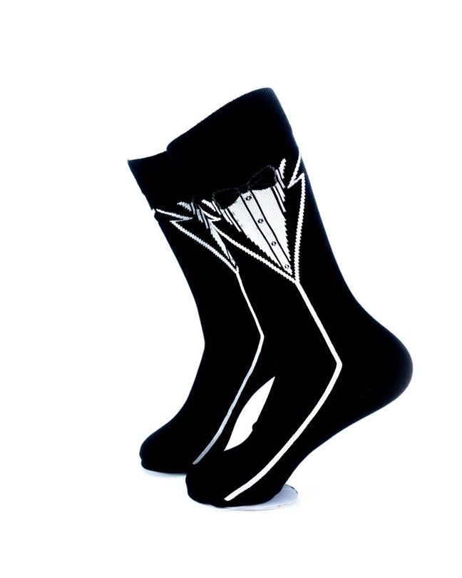 cooldesocks tuxedo print crew socks left view