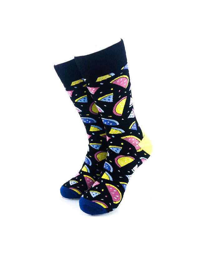 cooldesocks watermelon colorful slices crew socks front view image