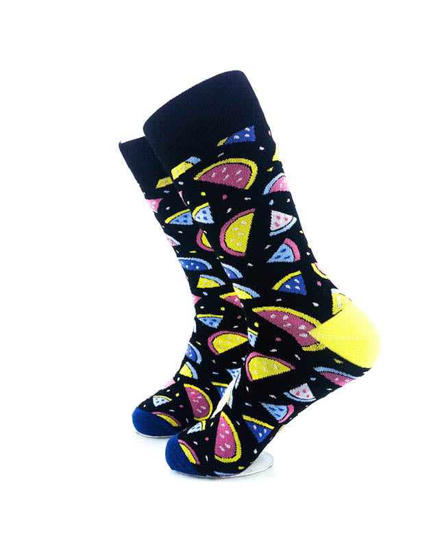 cooldesocks watermelon colorful slices crew socks left view image