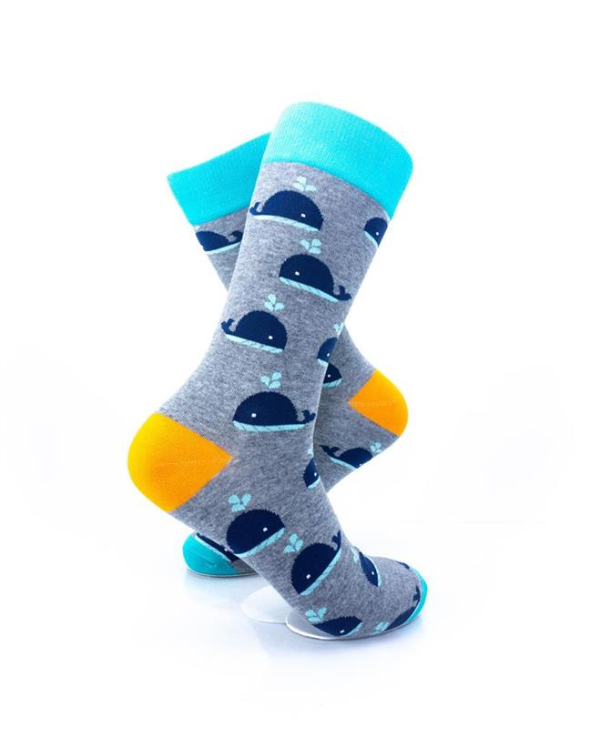 CoolDeSocks Whales - Blue Grey Socks right view image
