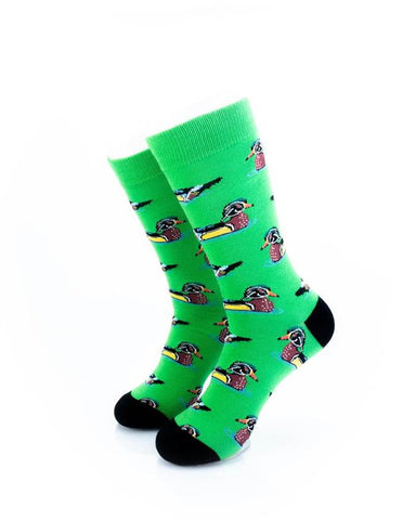 cooldesocks wild duck green crew socks front view