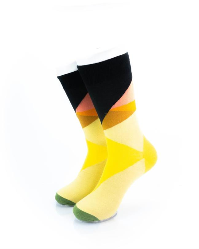 cooldesocks yellow abstract crew socks front view