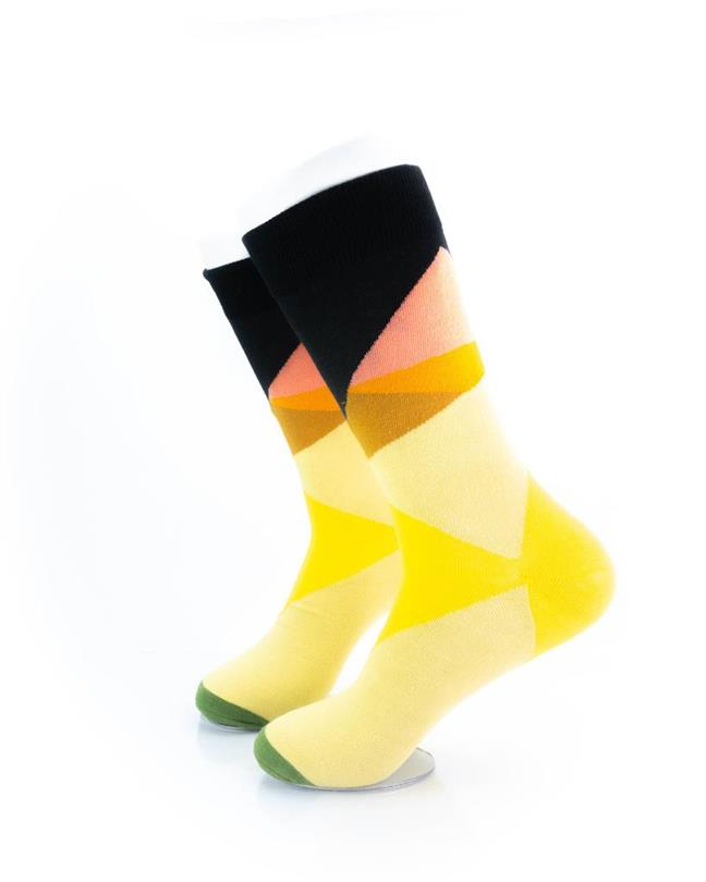 cooldesocks yellow abstract crew socks left view
