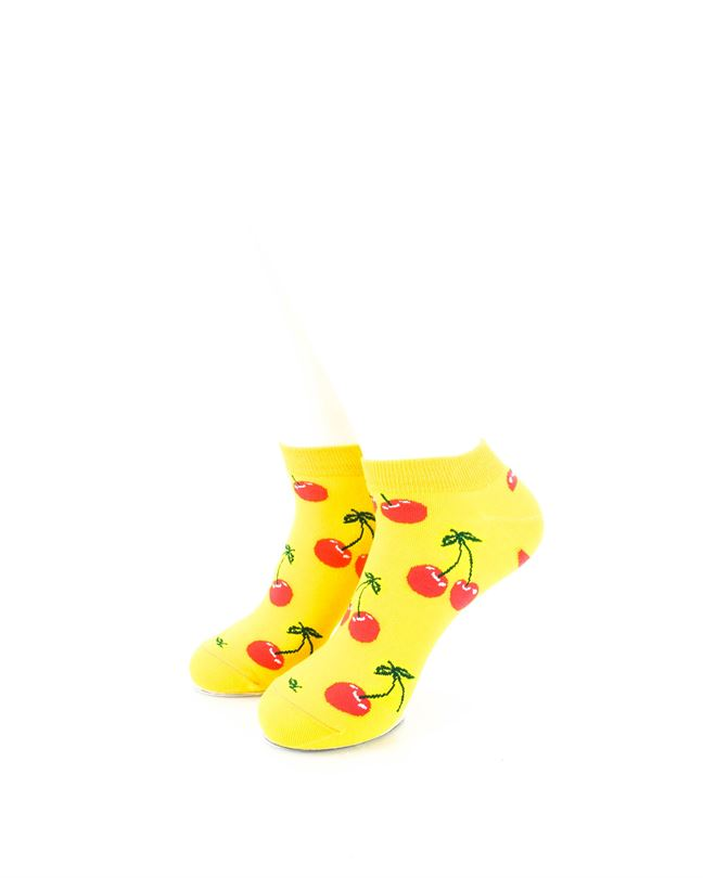 CoolDeSocks Yellow Pink Cherry Ankle Socks front view image