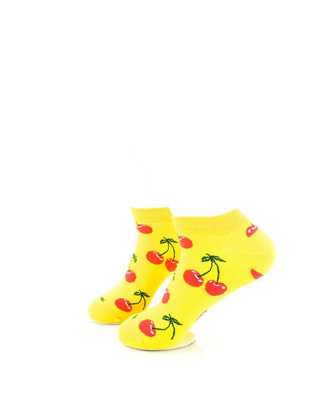 CoolDeSocks Yellow Pink Cherry Ankle Socks left view image