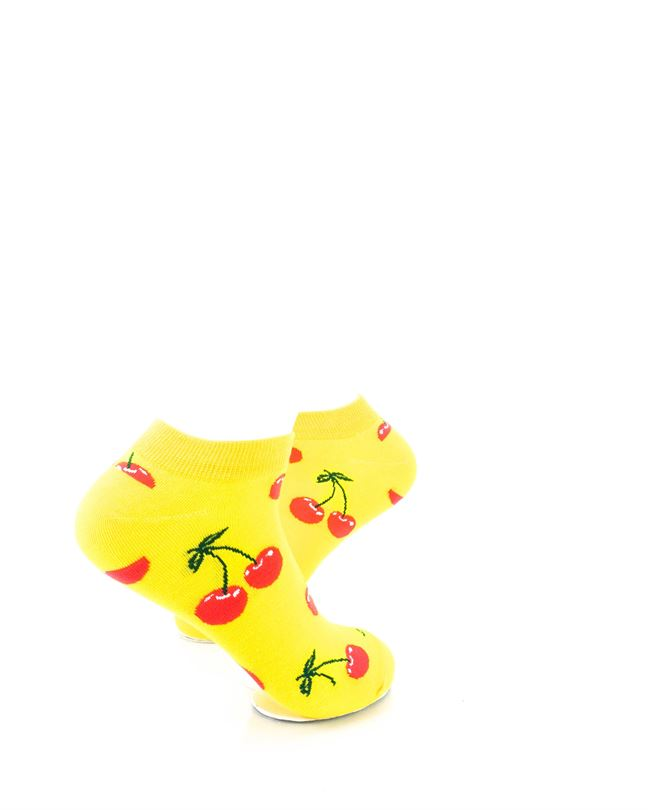 CoolDeSocks Yellow Pink Cherry Ankle Socks right view image