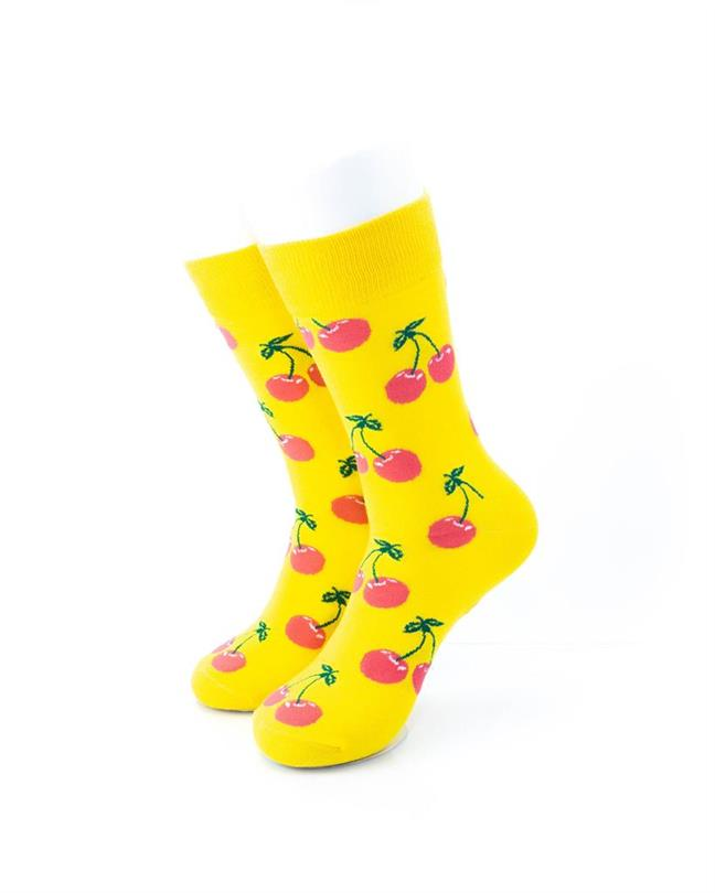 cooldesocks yellow pink cherry crew socks front view