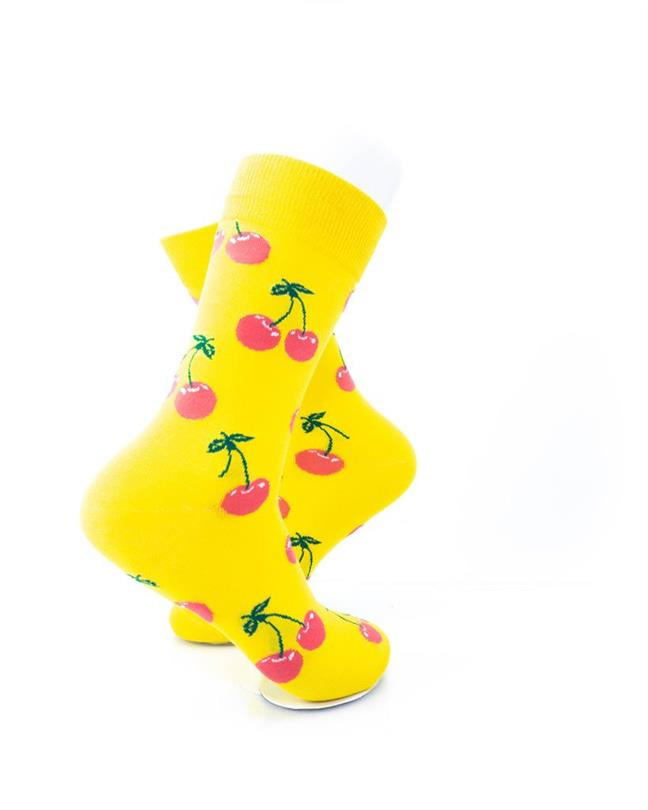 cooldesocks yellow pink cherry crew socks right view
