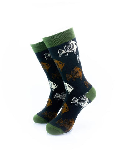 cooldesocks zombie fish crew socks front view