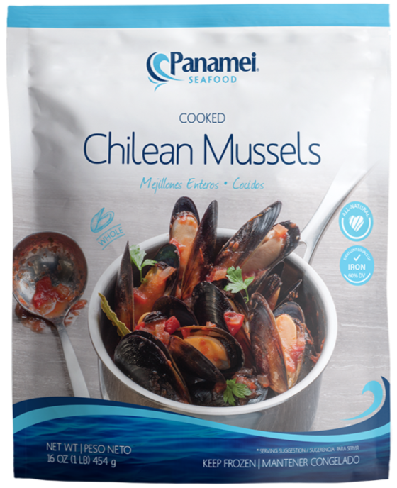 MUSSELS BLACK WHOLE COOKED PANAMEI V/P 1LB