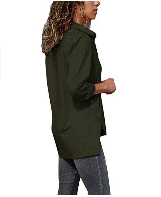 Autumn and Winter New Solid Color Long-sleeved Irregular Split Shirt Women