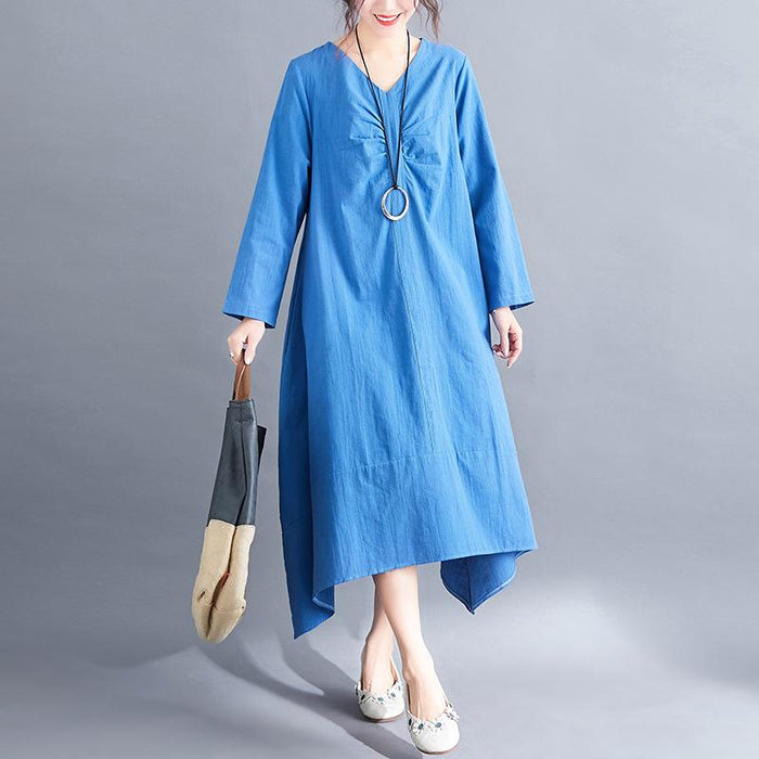 2019 Spring New Literary Large Size Long Long Sleeve Loose Slim Dress