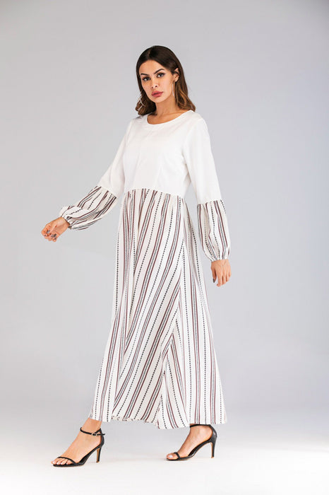 2019 New Round Neck Long-sleeved Slim Wild Stripes Hit Color Long Paragraph Large Dress