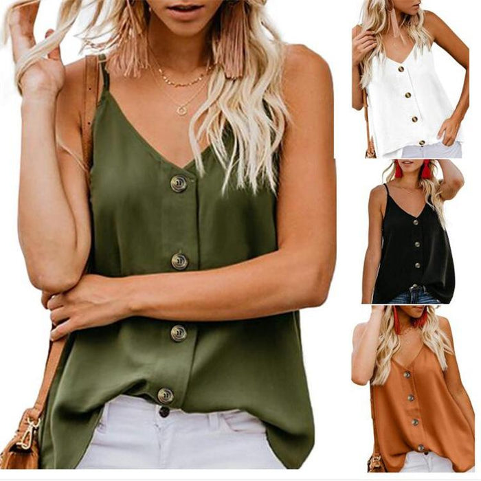 2019 Summer Explosion Models Casual V-neck Button Camisole Vest Top Shirt Printed Shirt