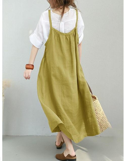 2019 Spring and Summer Large Size Loose Cotton and Linen White Literary Shoulder Strap Dress New