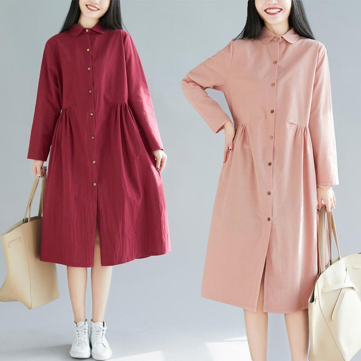 2019 New Cotton and Linen Dress Women's Fashion Wild Large Size Loose Cardigan Dress