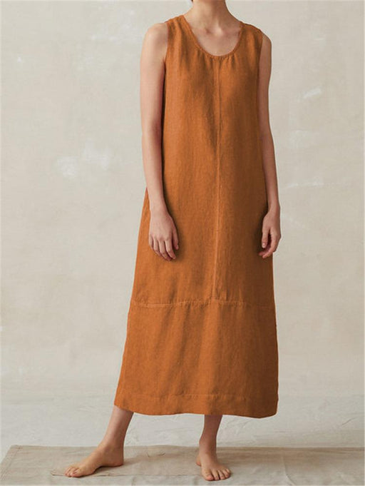 2019 New Sleeveless Round Neck Long Section Cotton and Linen Dress Skirt Women's Clothing