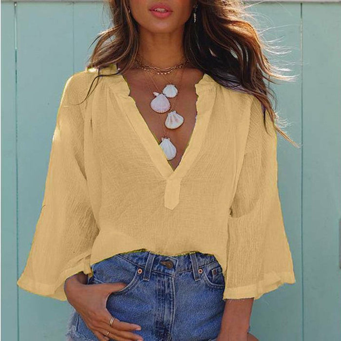 Women's New Tops Sexy Deep V-neck Loose Casual Nine-point Sleeve Shirt