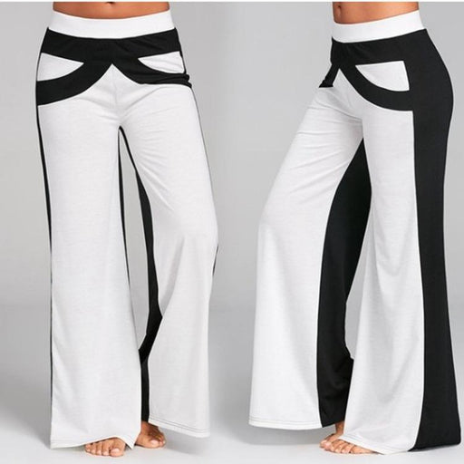 2019 Women's Fashion Casual Color Matching Color Wide Leg Pants