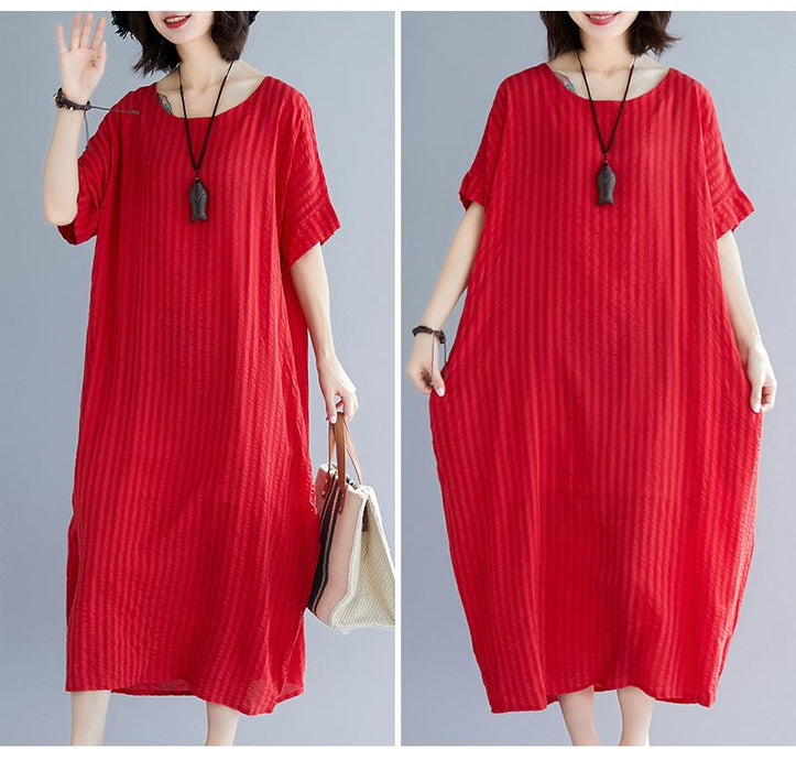2019 New Large Size Women's Cotton Solid Color Cover Belly Dress In The Long Women's Clothing