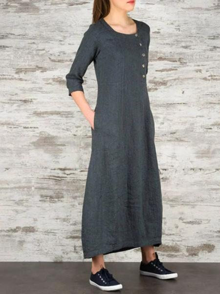 European American Explosion Models Ladies Round Neck 7-sleeve Cotton and Linen Long Dress