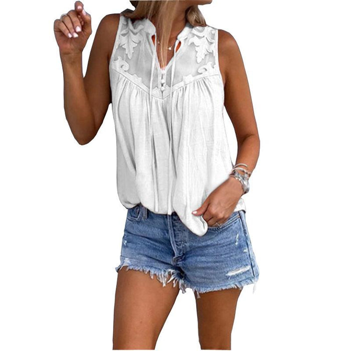 Women's Stitching Embroidered V-neck Sleeveless Shirt T-shirt Vest