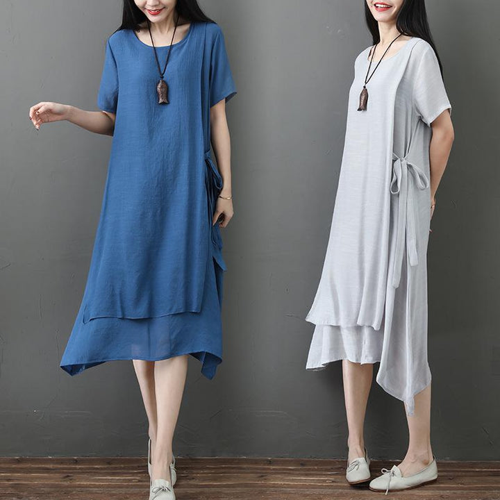 Summer Large Size Loose Thin and Thin Two-layer Straps In The Long Section of Cotton and Linen Dress